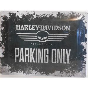 Deco plaques fer ou plaque emaillee  Plaque-metal-harley-davidson-parking-only
