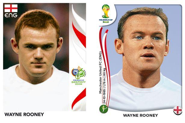 El antes y después de los jugadores de fútbol en los cromos del mundial Wayne-Rooney