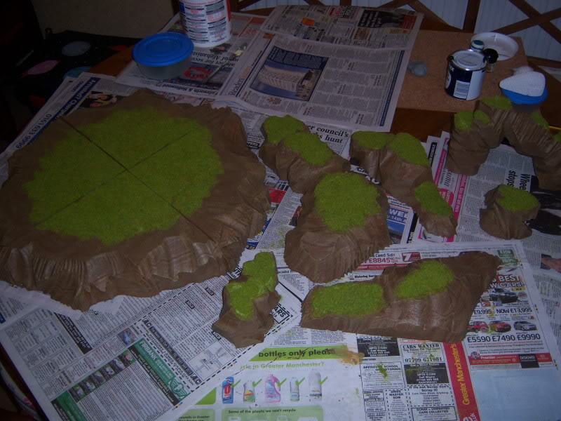 Wargame table - Pink B&Q style Hills