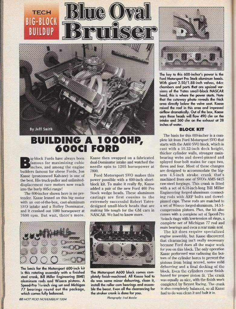 "Hot Rod Mag 1,000+ hp 600"" single carb Kaase bulit 1994  600-1"