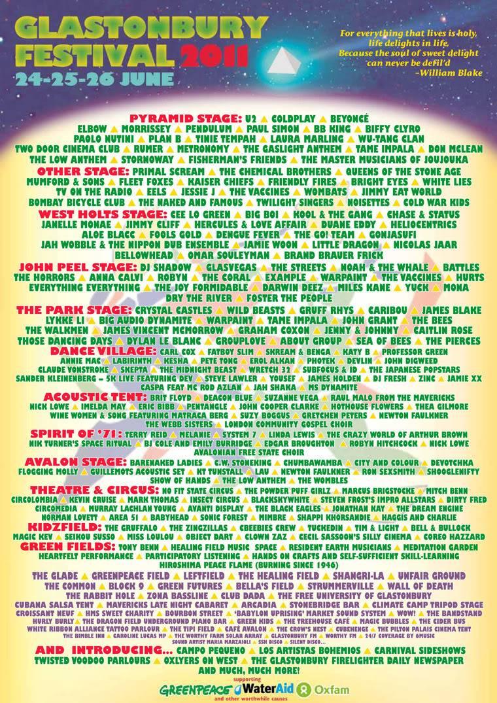 26/06/2011 : Glastonbury Festivals - Beyoncé, tête d'affiche  - Page 2 2011poster-1