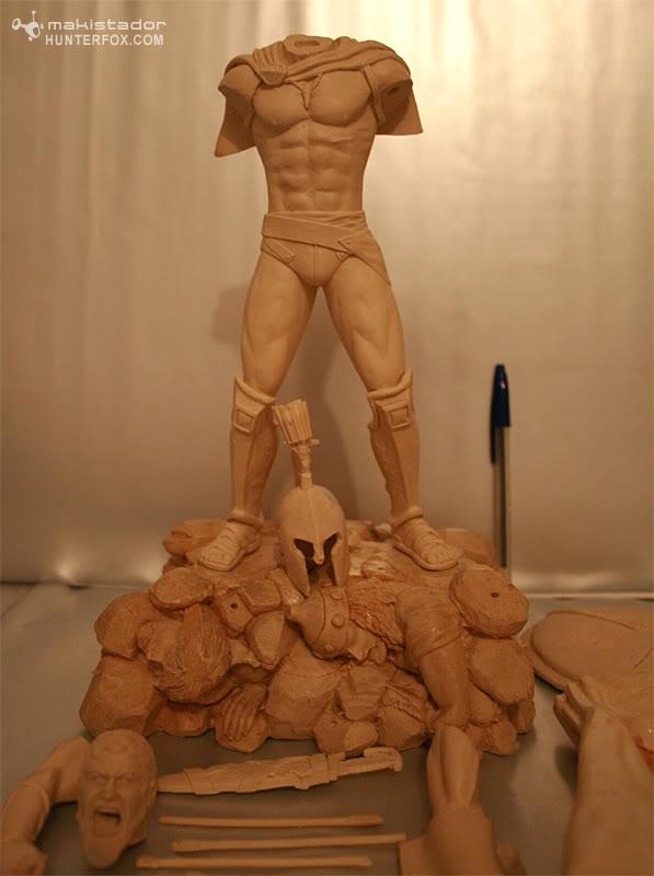TERMINE - Statue kit resine Leonidas film 300 - SPARTIATES ! 4-32