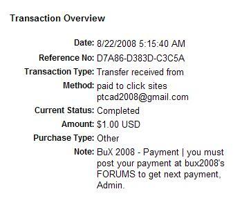 MY First payment from bux2008 Bux2008proof