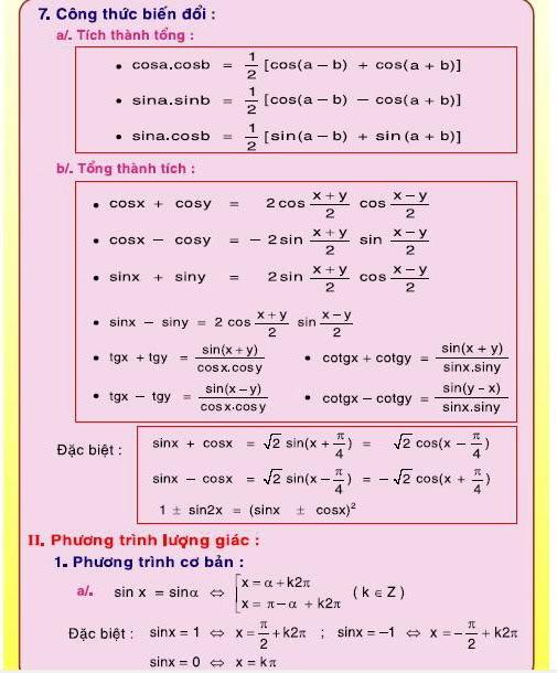 [Lớp 12] Tổng quát CT toán học   7