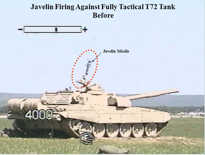 Javelin anti-tank missile launch at a Russian T-72 tank Image1