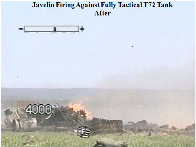 Javelin anti-tank missile launch at a Russian T-72 tank Image2