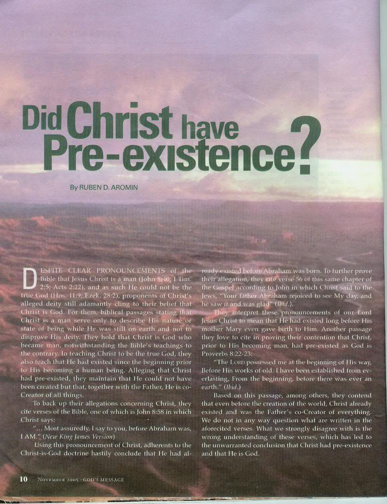 Is Jesus Christ pre existed before he went to earth? Pre1