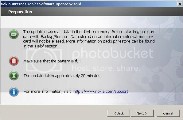 Nokia N800 nokia only successfully updated in NITSUW 2-19