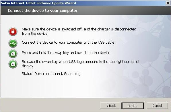 Nokia N800 nokia only successfully updated in NITSUW 3-15