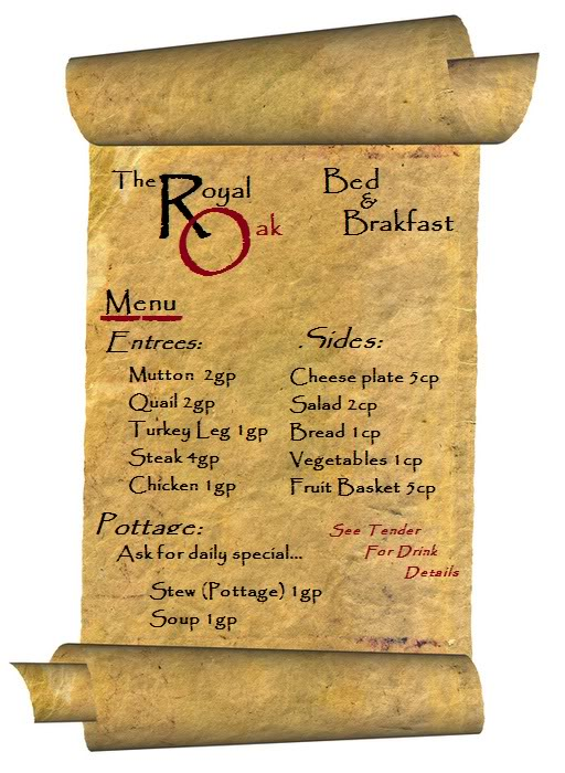 The Royal Oak Bed and Breakfast **Menu and Rules** Menu