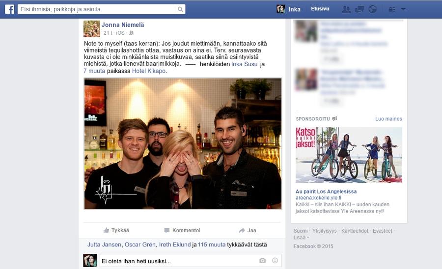 3. huhtikuuta -15 / Miten meni niin kuin omasta mielestä (Inka) Facebookpaumlaumlsiaumlinen