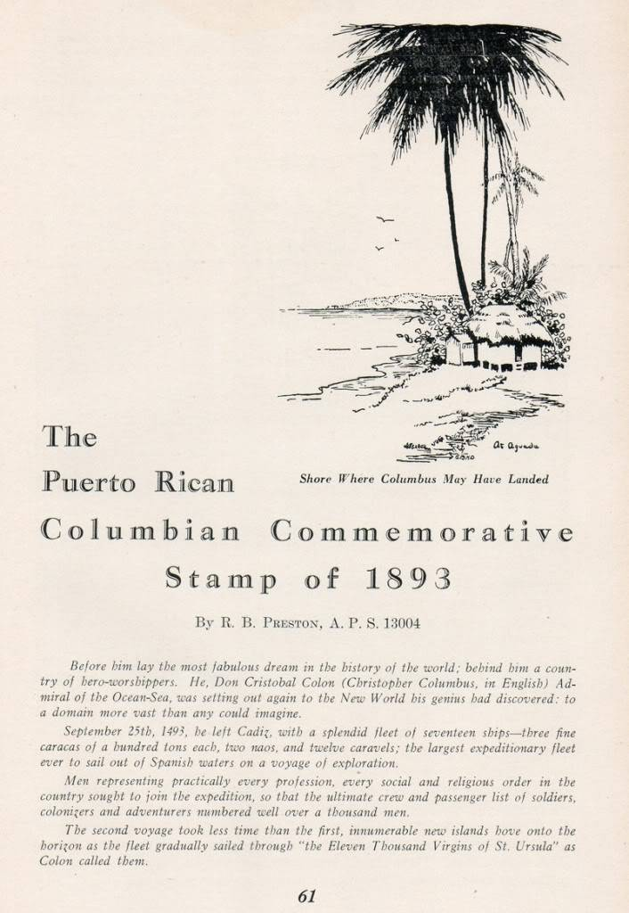 The Puerto Rican Columbian Columbian Stamp of 1893 by Preston 001-10