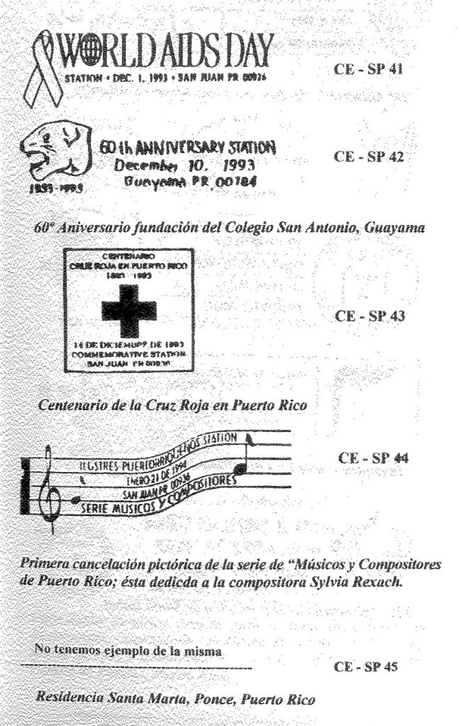 Cancelaciones Especiales de Puerto Rico 1927-2001 013-2