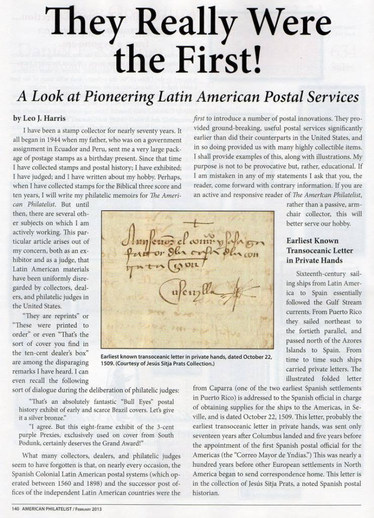 Carta mas antigua de correo transoceanico de Caparra a Sevilla 1509 LatinAmericaPostalServicePR001s