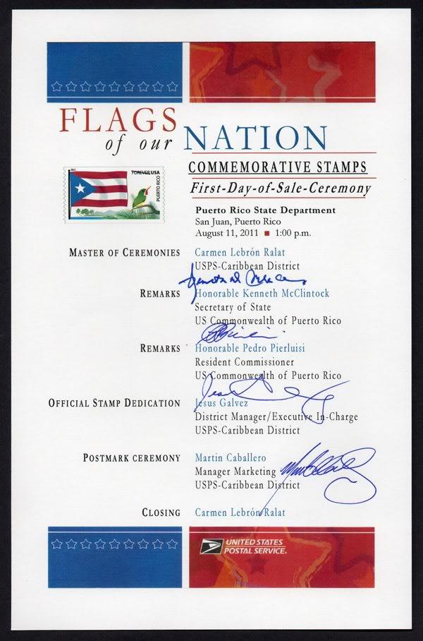 Ceremonia de primer dia de venta Sello de la bandera de Puerto Rico ProgramaBanderaPR001600
