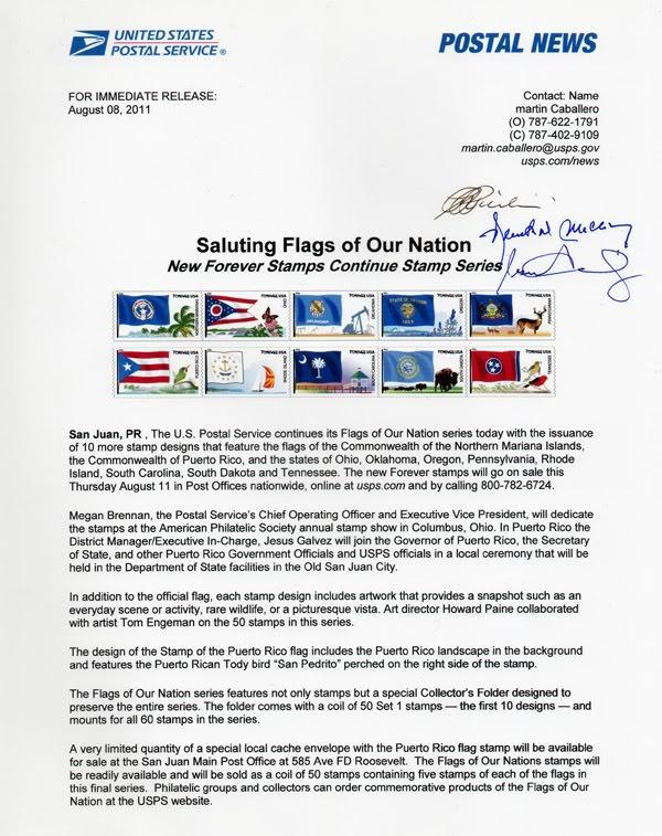 Ceremonia de primer dia de venta Sello de la bandera de Puerto Rico ProgramaBanderaPR003600