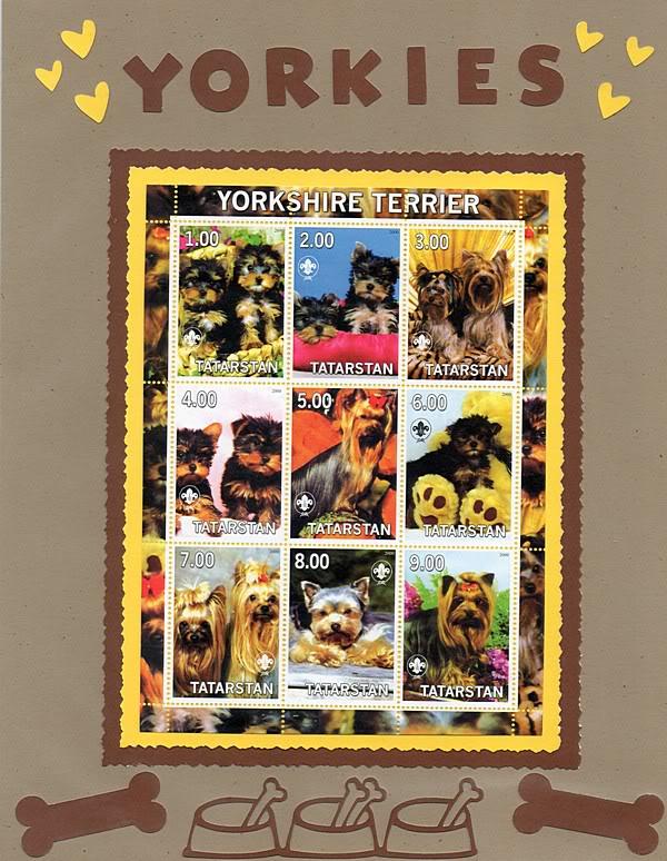Perros en la filatelia  Yorkies001