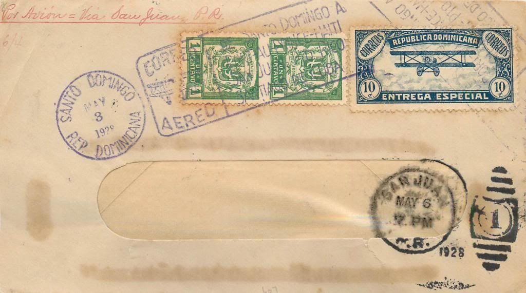 Ventas en ebay noviembre 2013 WESTINDIANAERIALEXPRESS1928AirMailCoverSantoDomingo-SanJuan70