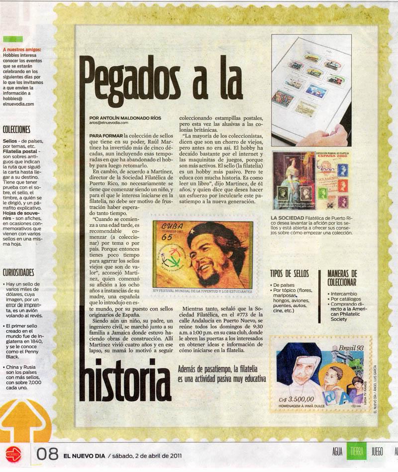 Articulo en el Nuevo dia sobre Filatelia Elnuevodias