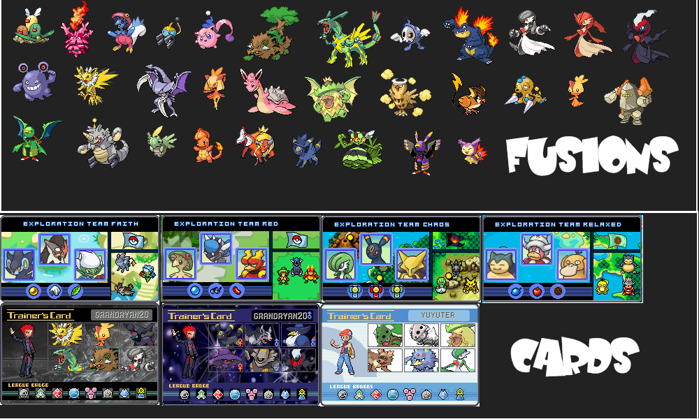Pokemon sprite fusion / re-colours / re-vamps / trainers @ splices / trainer cards Sheet