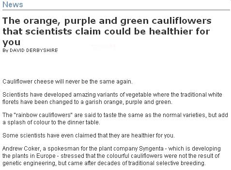 Colourful cauliflowers - not photoshopped 1-2