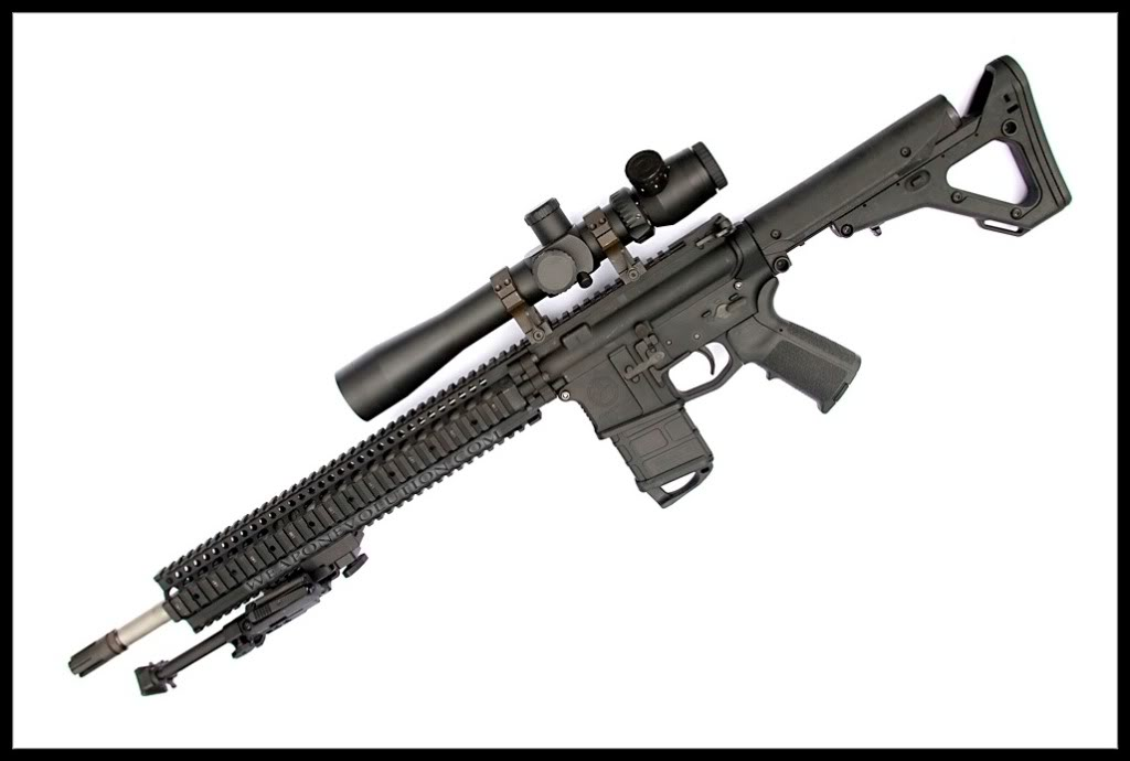 bipod,eotech 553, aimpoint, cqb or m733 legth outer barrel,  Magpulanddanieldefensecombined