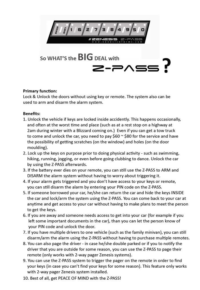 ZMC -THINKWARE/PARROT/EASYCAR/SPY/DOD - Page 2 Zpassbenefits