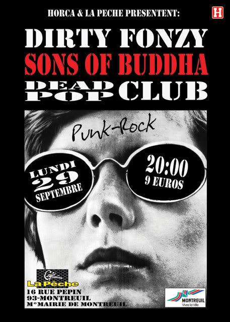 DIRTY FONZY+SONS OF BUDDHA+DEAD POP CLUB @Montreuil le 29/09 Flyer