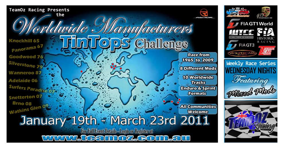 """TeamOz """"Worldwide Manufacturers TinTop Challenge"""" 2011WorldManufChallengePosterSml"""