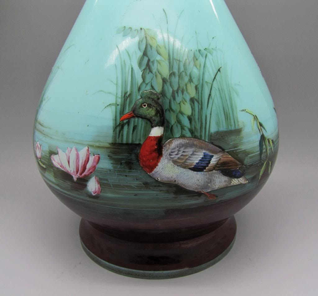 Large enamelled glass lamp base.. is it French maybe ?? Lampbase001