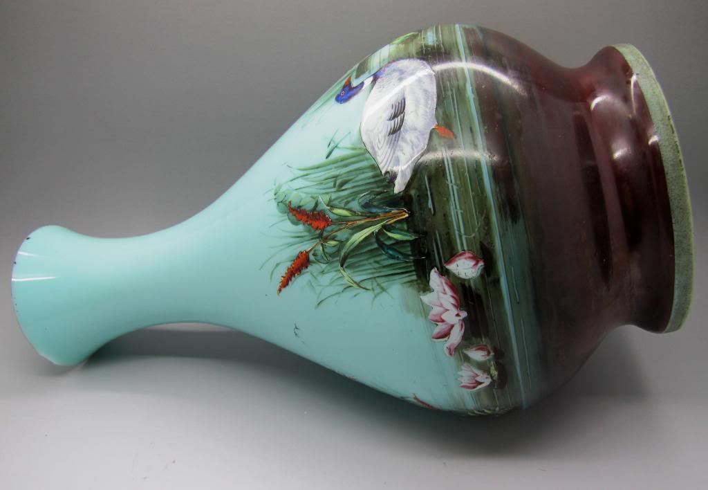 Large enamelled glass lamp base.. is it French maybe ?? Lampbase005
