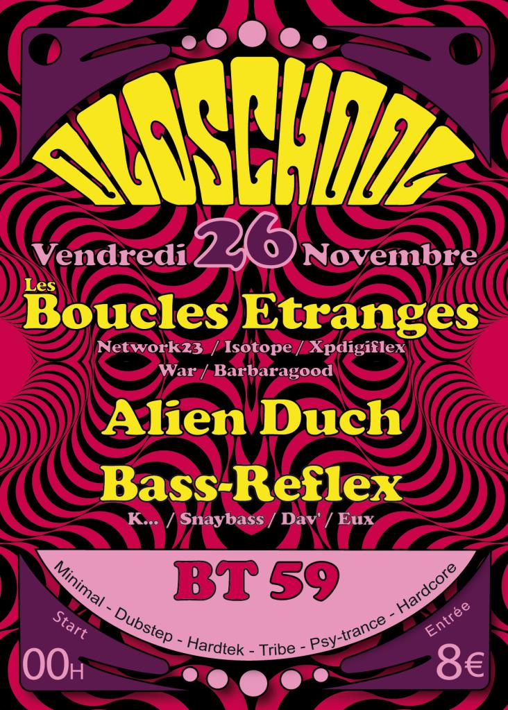 LES BOUCLES ETRANGES + ALIEN DUCH VENDREDI 26 NOVEMBRE-BT59-BORDEAUX RECTO-BDX