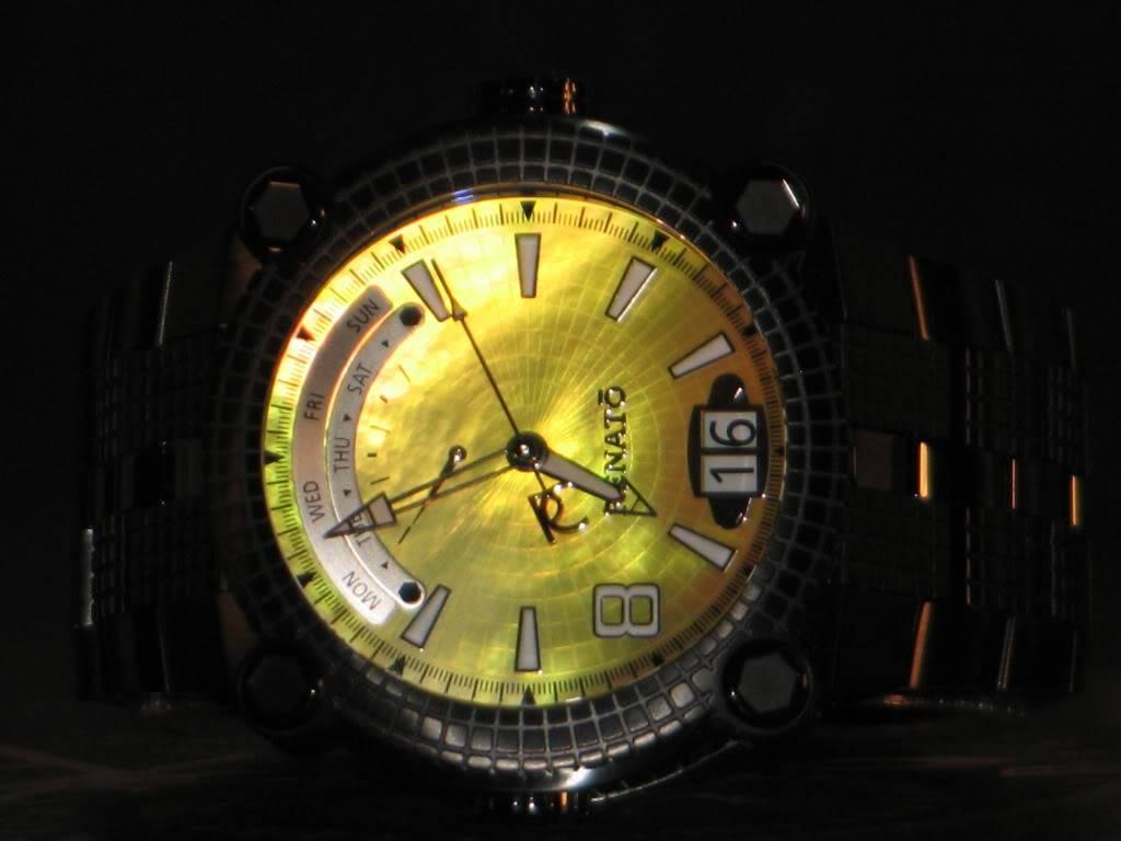 Watch-U-Wearing 8/17/10 J179349-RenatoLimitedEditionBlackIPYellowDialVulcanSwissQuartzBraceletWatch