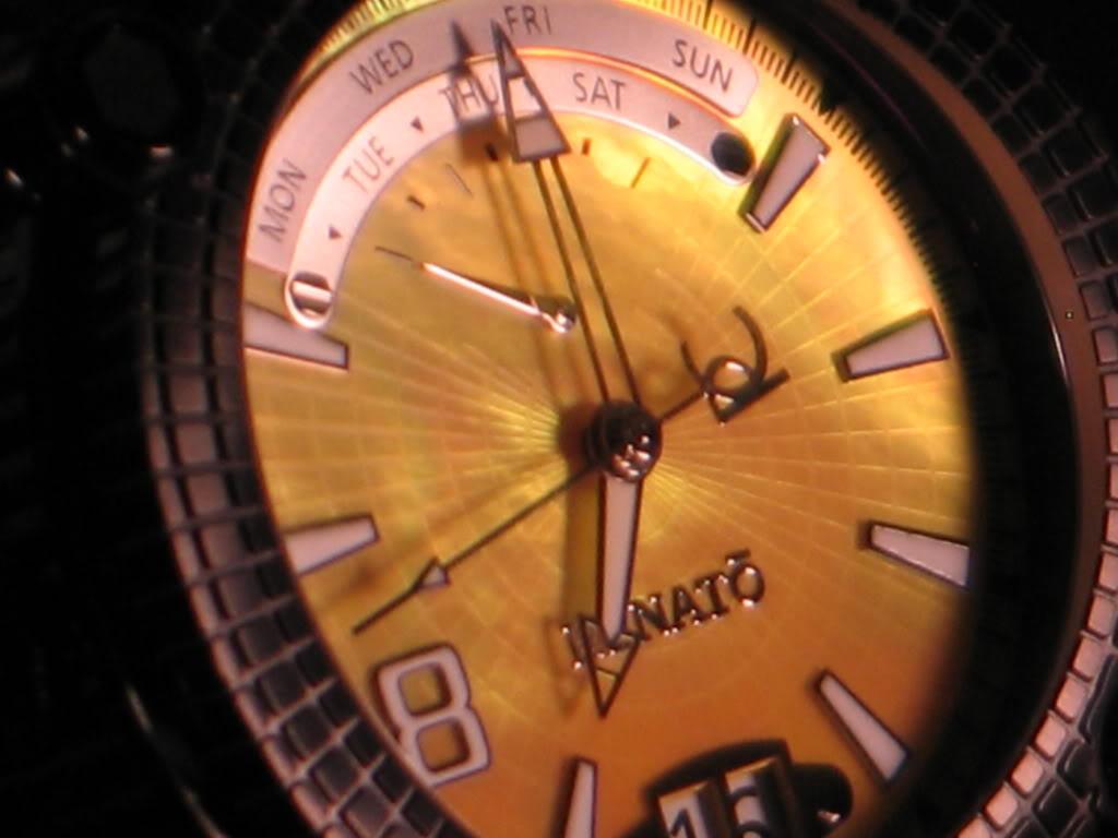 Watch-U-Wearing 8/17/10 J179349-RenatoLimitedEditionBlackIPYellowDialVulcanSwissQuartzBraceletWatch6