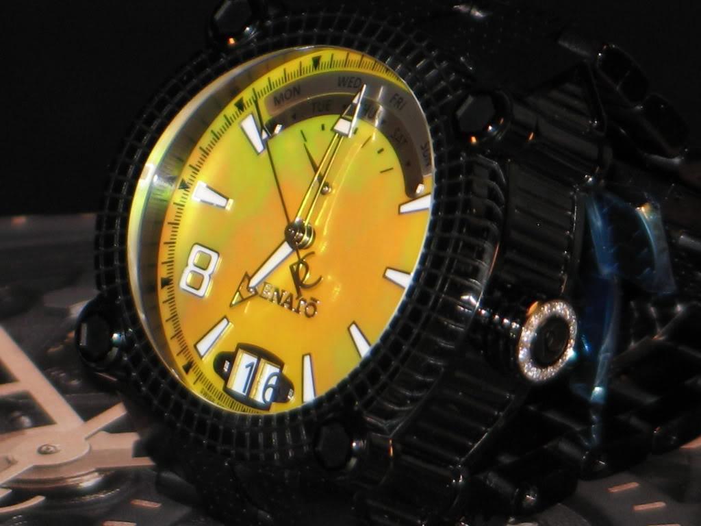 Watch-U-Wearing 8/17/10 J179349-RenatoLimitedEditionBlackIPYellowDialVulcanSwissQuartzBraceletWatch9