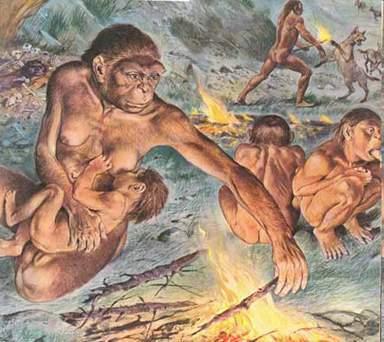 HOMINIDOS EN LA EDAD DE PIEDRA Homo_erectus_fuego_2
