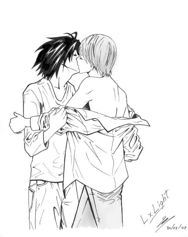 Death Note L_and_Light__yaoi