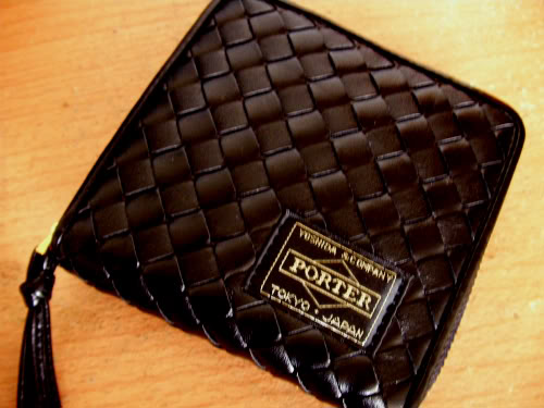 New! Black Golden Zipped Leather Wallet  By Head Porter Picture1854