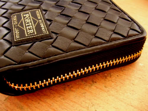 New! Black Golden Zipped Leather Wallet  By Head Porter Picture1855