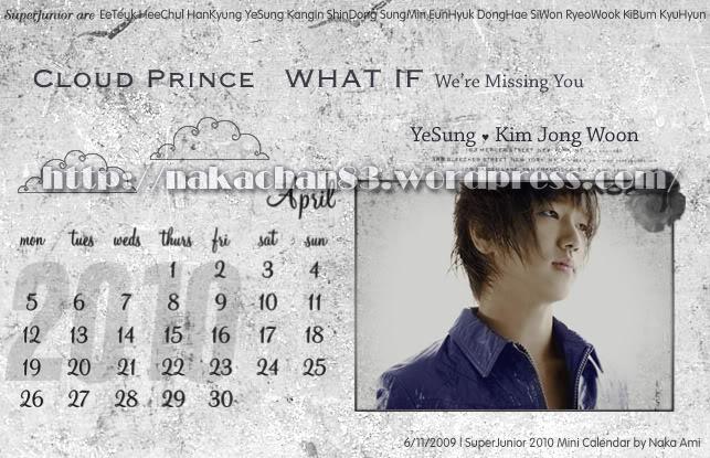 Calendar of Suju SJ-Apr-1