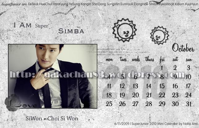 Calendar of Suju SJ-Oct