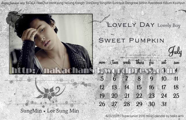 Calendar of Suju SJ-jul