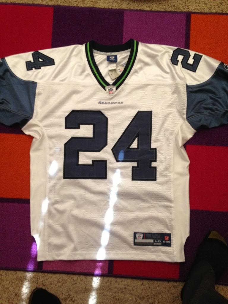 competitive price 082ff ded56 First time... Real Seattle Seahawks Marshawn Lynch Jersey?