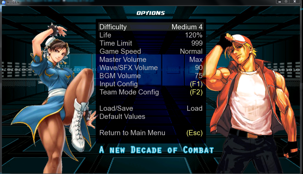 Capcom Vs SNK 2010 Options_screen