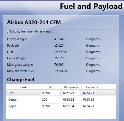 Airbus Bundle - carregamento do combustível 03-A320
