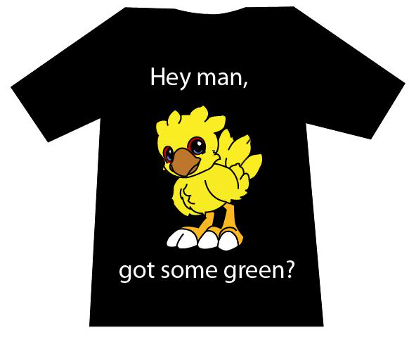 New shirt ideas. Chocoboblackversion