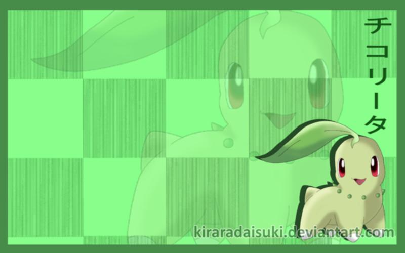 Nhận tìm , post hình Wallpaper pokemon , pokemon - Page 2 Free__Chikorita__wallpaper_by_kirar