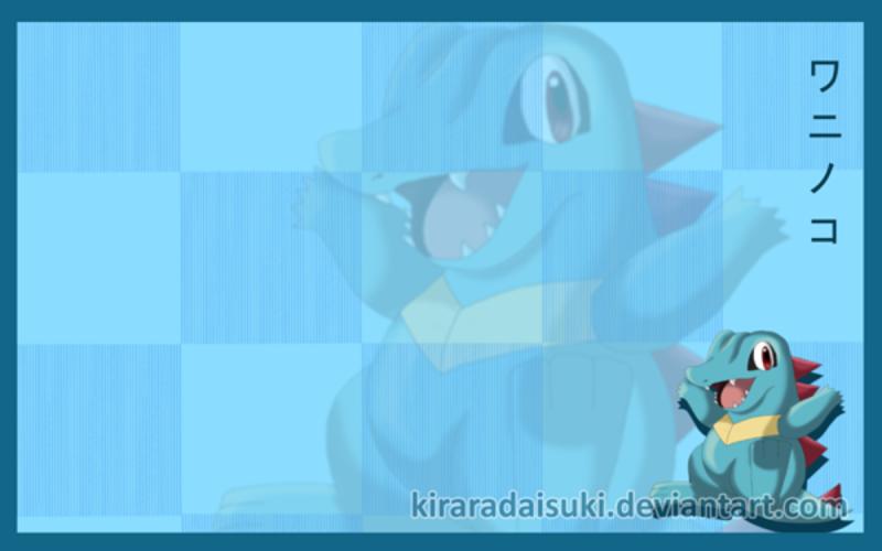 Nhận tìm , post hình Wallpaper pokemon , pokemon - Page 2 Free__Totodile__wallpaper_by_kirara