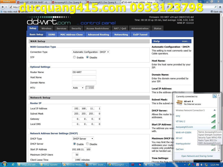 Hướng dẫn cài đặt Repeater WIFI BUFFALO chạy Firmware dd-wrt để thu phát sóng 11