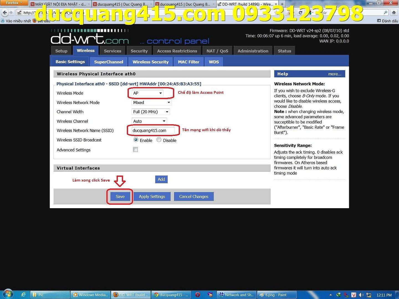 Hướng dẫn cài đặt Repeater WIFI BUFFALO chạy Firmware dd-wrt để thu phát sóng 7